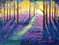 Beautiful painting idea with a teal path through purple wild flowers of trees with blue leaves. Lovely use of light with the sun in the far distance, by Alta Ministries. Please also visit www.JustForYouPropheticArt.com for colorful art you might like to pin or purchase. Thanks for looking!