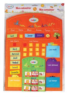 Ce panneau calendrier en tissu brodé de couleur orange permet à l'enfant de se repérer quotidiennement dans le temps avec le jour, la date, le mois et l'année. Il peut également indiquer le temps qu'il fait et la saison. Le semainier permet à l'enfant d'organiser sa semaine jour par jour. Utilisation recommandée à partir de 3 ans. #LUDI #cestbienjoué !