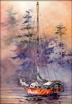 Sailboat Watercolor Painting Print  by MichaelDavidSorensen, $30.00