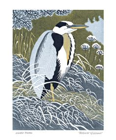 Winter Heron linocut by Robert Gillmor