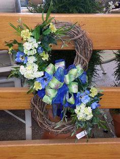 #Spring wreath custom designed made by Stauffers of Kissel Hill Garden Centers. Visit us at www.skh.com.