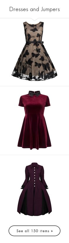 """Dresses and Jumpers"" by rarimena ❤ liked on Polyvore featuring dresses, plus size prom dresses, plus size a line dresses, a line dress, jacquard a line dress, brown dresses, vestidos, short dresses, burgundy and petite"