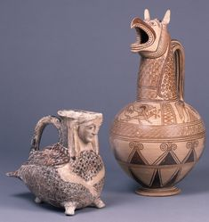 Terracotta vase in the form of a siren. Pottery jug with a spout in the form of a griffin's head. 675BC-650BC, Europe,Greece,Cyclades