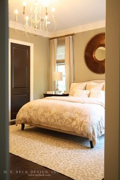 master bedroom ideas; like the door painted dark in neutral room. Love an all neutral bedroom. Mine is all neutral with dark wood furniture and I find it so peaceful, elegant, and clean looking.