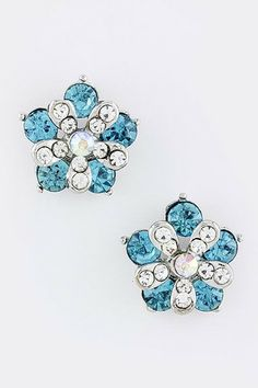 Turquoise Flower Crystal Earrings – The Bling Boutique