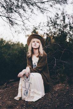 Bohemian maxi dress. Cardigan. Fedora hat.