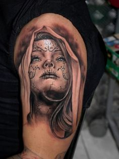 40+ Eye-Catching Day of the Dead Tattoos - Faces, Skulls, Girls... Check more at http://tattoo-journal.com/30-daring-images-of-day-of-the-dead-tattoos/