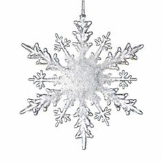 Set 24 Acrylic Clear Frost Snowflake Christmas Ornament | eBay