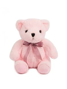 HollyHOME Soft Stuffed Animal Teddy Bear with Ribbon Thanksgiving Day Birthday Gift Plush toy, 10 inches, Pink