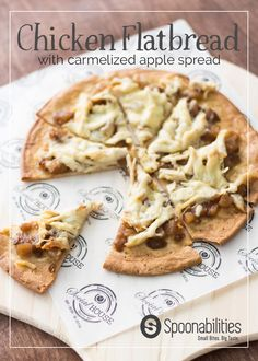 This Chicken Flatbread Pizza recipe is perfection on a pan. Shredded chicken, gruyere cheese, Apple Caramelized Onion Spread and olive oil make this the perfect flavor combination. Feel free to try different Flatbread Pizza variations like bacon and sharp cheddar! #chicken #flatbread #Spoonabilities