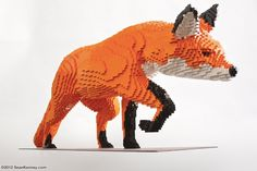 Sean Kenney's traveling exhibition, Nature Connects, is currently on display at Reiman Gardens in Ames, Iowa, where 27 life-sized LEGO animal sculptures were crafted by Kenney and his team.