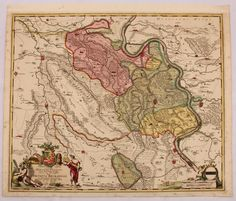 Rare 17th Century Antique Baroque map of parts of the region around Moers, Germany by Frederick de Witt