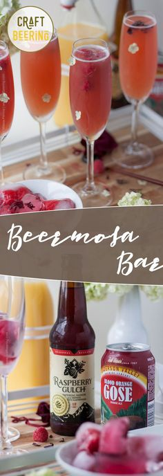 Beermosa Bar with Raspberry Saison and Blood Orange. Few beer cocktails taste this good! Frozen Drink Recipes, Sangria Recipes, Beer Recipes, Margarita Recipes, Punch Recipes, Cocktail Recipes, Smoothie Recipes, Smoothies, Party Catering