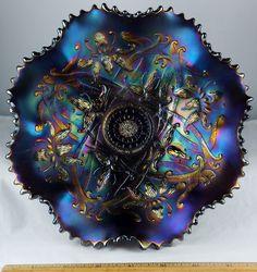 Northwood Carnival Glass Amethyst Ftd. Wishbone Bowl.  Electric Blue Iridescence.