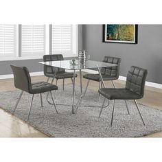 Shop for Grey Faux Leather Chrome Metal Dining Chairs (Set of 2). Get free shipping at Overstock.com - Your Online Furniture Outlet Store! Get 5% in rewards with Club O! - 16852949