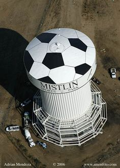 Mistlin Sports Park, Ripon CA Soccer Ball Water Tower http://myslightlysillyworld.blogspot.com/2010/12/water-tower-power.html