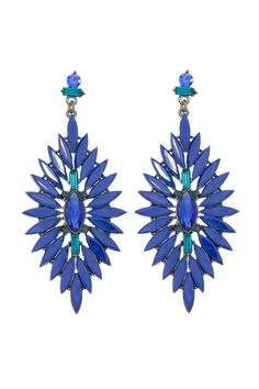 Show Time - Pointed Almond Resin & Jewel Drop Earring - Adorne