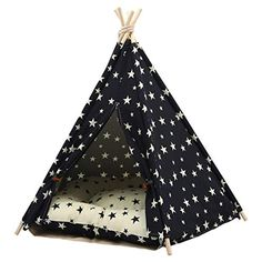 MEIQI Pet Dog Teepee Tent Cushion Dogs Cats Foldable Portable Cotton Canvas Pet Bed House Rabbit Puppy ** Find out more about the great product at the image link. (This is an affiliate link) #dogcrateshousespens