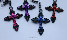 Gothic Rosary Black Rose Cross Necklace