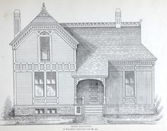 Tasteful Cottage house plan from 1884 Leffel's House Plan book.