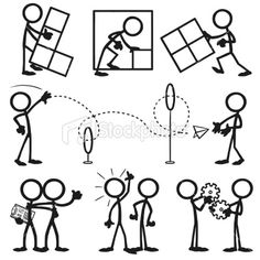 Stickfigure Business People Working Together Royalty Free Stock Vector Art Illustration
