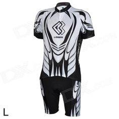 LAMBD CM1301 Men's Bicycle Cycling Short Sleeves Jersey   Shorts Set - Black   White (Size L) Price: $46.90