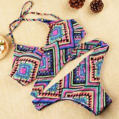 Aztec Print Swimsuit Swimwear Bikini Set