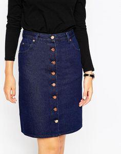ASOS | ASOS Denim Polly A-line Button Through Midi Skirt in Indigo at ASOS