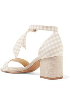 Alexandre Birman - Clarita Bow-embellished Gingham And Canvas Sandals - Beige - IT