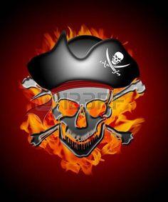 calavera pirata: Capitán Pirata Calavera con ilustración de fondo de Bomberos Llamas