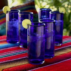 Novica Handmade Set of 6 Blown Glass 'Pure Cobalt' Highball Glasses (Mexico) (Highball glasses, 'Pure Cobalt' (set of (Mexico)), Blue, Size 7 Inches