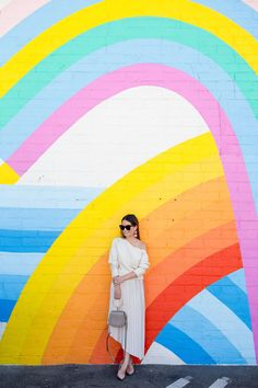 Asymmetrical Pleated Skirt | Rainbow Mural Los Angeles