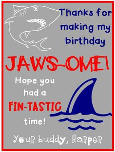 Shark Themed Party Favor Card by FalgoutGirls on Etsy Ocean Party, Shark Party, 7th Birthday Party Ideas, 4th Birthday, Boy Pool Parties, James 1st, Shark Week, Sharks, Party Favors