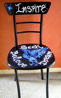 Inspire Seek Dream Believe Painted Chair by TamlarDesigns on Etsy, $160.00