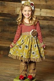 Mustard Pie Clothing - Clover Twirl Dress in Mustard Ruby