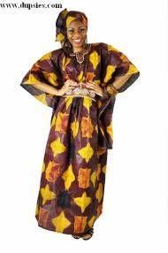 Brown African Tie-Dye Senegalese Dress-DP2860