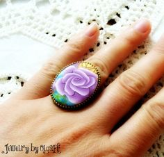 Rose Polymer Clay Ring by jewelryfimo on Etsy, $45.00