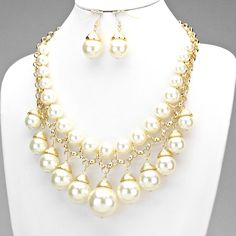 Stylish Pearl Gold Chain Earring & Necklace Set CREAM GOLD