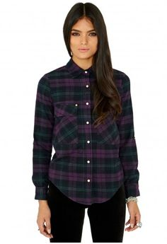 Missguided - Chenille Brushed Cotton Checked Shirt In Purple