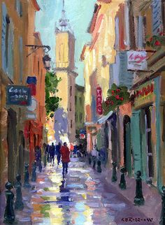 Choose your favorite french street scene paintings from millions of available designs. All french street scene paintings ship within 48 hours and include a money-back guarantee. Rain Painting, Street Painting, Acrylic Painting Canvas, Canvas Art, Paris France, French Street, Inspirational Artwork, Watercolor Artwork, Painting Inspiration