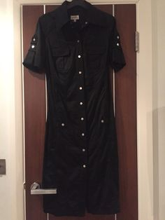 Karen Millen Iconic Black Satin Military Utility Safari Shirt Dress Size 10   eBay