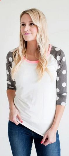 Polka Dot Baseball T Shirt