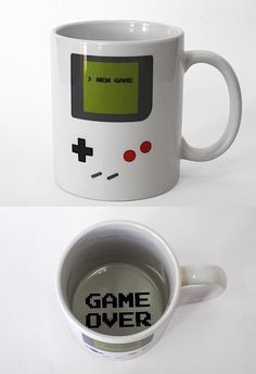 Drink Coffee In Style! Novelty Mugs By Funny Guy Mugs! Printed and Tested In the USA! The Gameboy coffee mug is the ultimate cup for old school gamers. Designed by college student Tiago Goncalves to look like a retro Gameboy, this genius coffee mug wil My Coffee, Coffee Cups, Drink Coffee, Coffee Latte, Morning Coffee, Chemex Coffee, Coffee Room, Coffee Menu, Coffee Girl