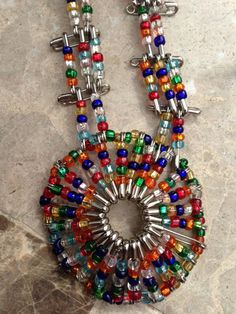 Safety Pin and Seed Bead Necklace by Aletamc on Etsy, $5.00