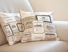 Pillow Cover French Country Vineyard 16 x 16 Oatmeal Beige Neutral Rustic Shabby Chic Vintage style Vine Labels