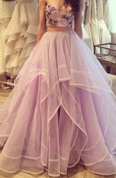 Custom Made Sexy Two Piece Prom Dress, Long Evening Dresses