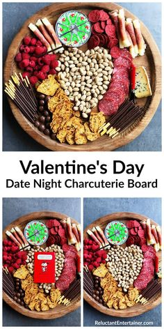 Valentine's Day Date Night Charcuterie Board—A Valentine's Day Date Night Charcuterie Board filled with heart-shaped pistachio nuts, meats, cheese, fruit, and chocolate. Made with a lot of love! via Valentines Day Date, Valentines Food, Valentine Sday, Charcuterie And Cheese Board, Cheese Boards, Charcuterie Ideas, Charcuterie Platter, Party Food Platters, Date Night Recipes