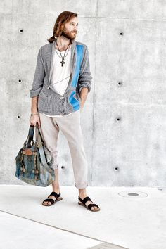 #danieladallavalle #mancollection #riccardocavaletti #ss16 #tshirt #white #cardigan #tricot #grey #stripe #blue #pants #black #sandals #leather #handbag #blue #cross #necklace #jewel