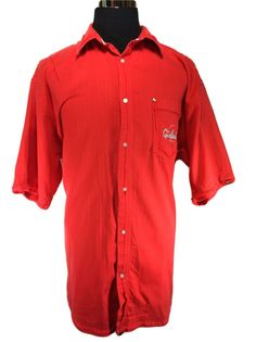 GIRBAUD Casual Shirt Mens XL Solid Red Short Sleeve Cotton Logo Chest Pocket…