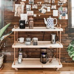 This copper and wood coffee cart takes about 2 hours to make and is equally stylish and functional.